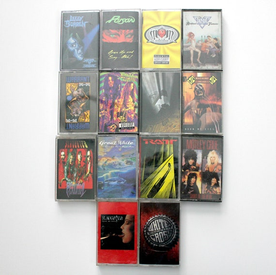 Vintage Lot 14 Cassette Tapes, Metal, Hair Band, Rock, Motley Crue, Warrant, Lizzy Borden, Poison, TNT, Queensryche, White Zombie, More