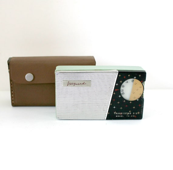 Vanguard Transistor Radio Model TR-221 Works | Mid Century Vintage Mint Green with Case Atomic 1950s