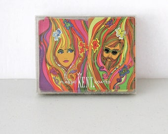 Double Deck Set of Cards by Kent, Complete in Box, Mod Hippie Man Woman, 1970s Psychedelic