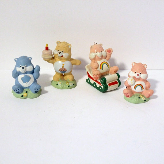 Vintage Lot 4 Care Bear Ceramic Figures, One Christmas Ornament