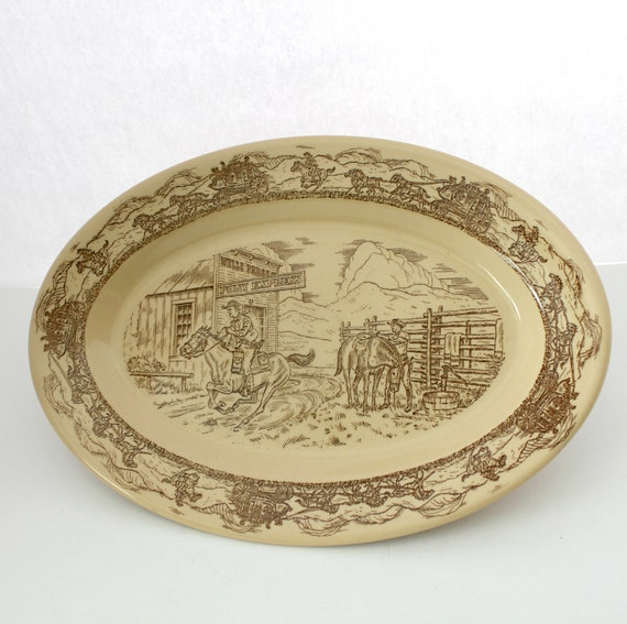 "Vintage Tepco Western Traveler 14"" Platter, Pony Express Restaurant Ware China Serving Tray"
