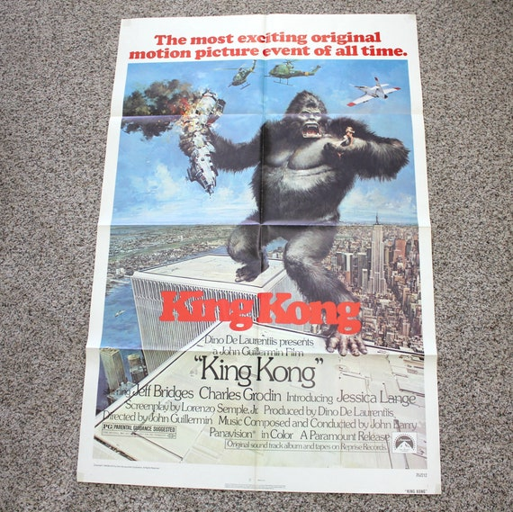 "Vintage King Kong 1976 Movie Poster, Original One Sheet Size 27"" x 41"""