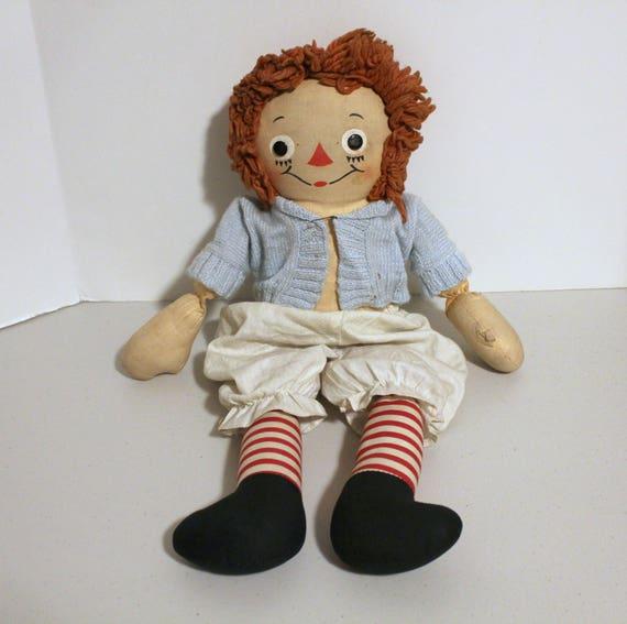Vintage Gruelle Raggedy Ann Doll, 1940s Soft Cloth Doll