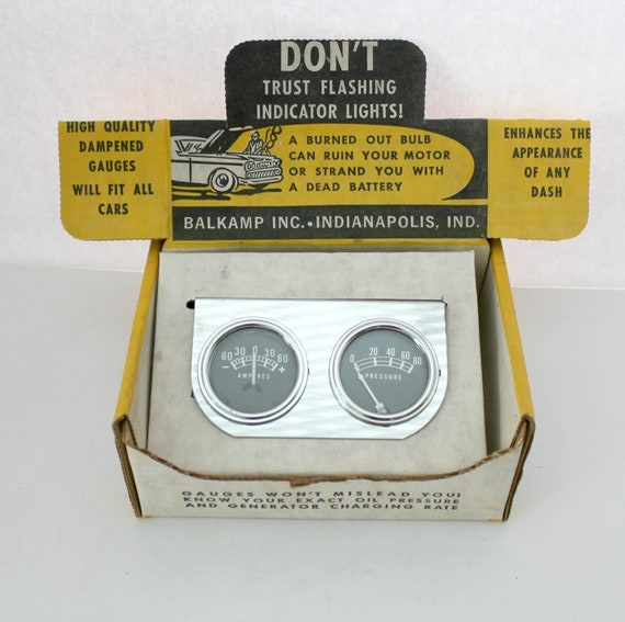 Vintage Balkamp Napa Ammeter Oil Pressure Gauge Kit for Dash, NOS Car Part in Display Box