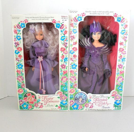 2 Vintage Flower Princess Dolls by Creata 1980s, Lisette and Fairytale Witch Tempestia NIB NOS