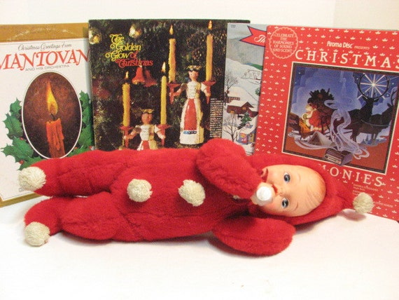 Vintage Christmas Baby Doll in Snowsuit, Plush & Vinyl Doll