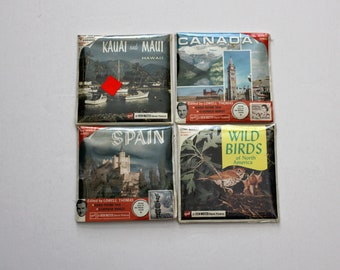 View Master Sealed Reels Lot of 4, Travel, Wild Birds, Spain, Canada, Hawaii, Vintage 1960s Stereo Pictures