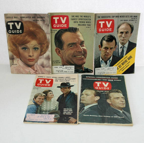 Lot of 5 Vintage TV Guide Magazines 1960s, Lucille Ball, Fred MacMurray, Barry Morse, Untouchables, Democratic Convention
