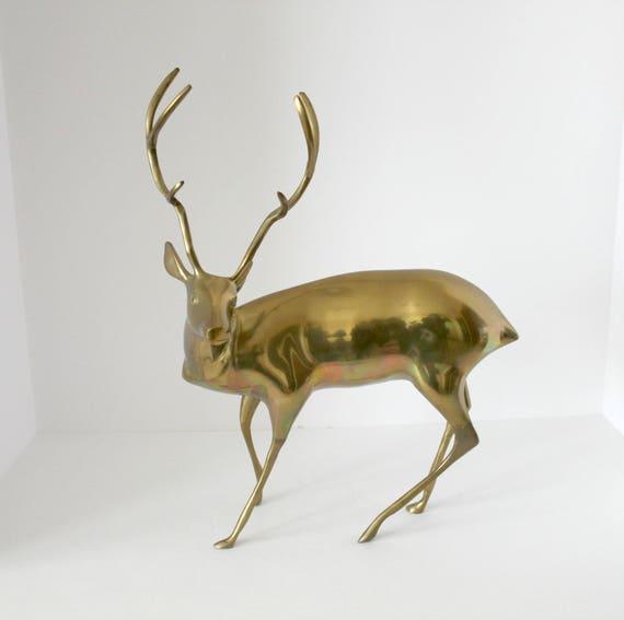 """16"""" Brass Deer, Hollywood Regency Mid Century Metal Stag with Antlers"""