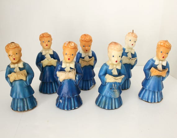 "7 Gurley Candles Blue Choir Boys 7"" Tall, Vintage Christmas Robed Carolers"