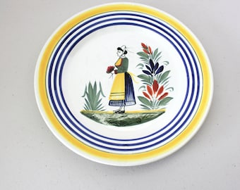 Henriot by Quimper France Center Lady Plate, Vintage Hand Painted