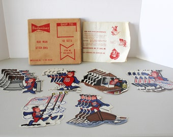 Bud Man Stick On Displays Stickers Decals in Original Shipping Box, 1970s Budweiser Beer Advertising, Several Designs