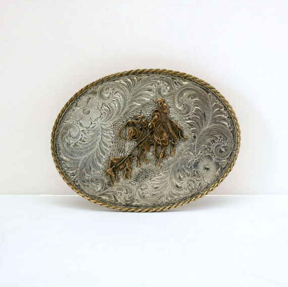 Diablo Sterling Silver Overlay Belt Buckle | Vintage Rodeo Cowboy Roping Large Western Buckle