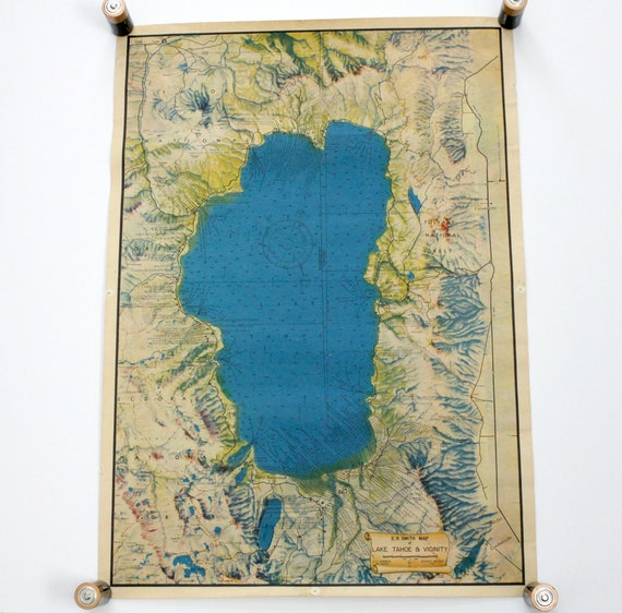 Vintage 1947 Lake Tahoe E R Smith Wall Map, 1940s Sierra Nevada California History