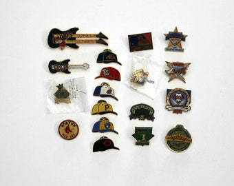 Lot MLB Major League Baseball Pins, Press, 1988 1955 Dodgers, Mariners, Compadres, Angels, Padres Guitar, Red Sox, Hats