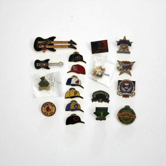 Lot MLB Major League Baseball Pins, Press, 1988 1955 Dodgers, Mariners, Compadres, Angels, Padres Guitar, Red Sox, Hats