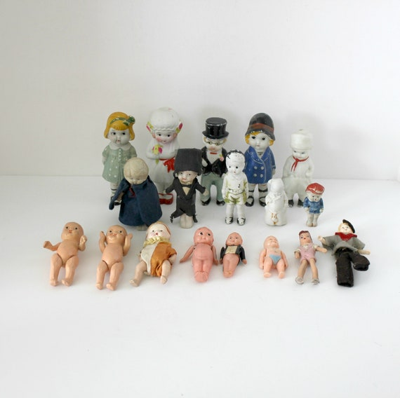 18 Vintage Miniature Dolls Lot, Mini Bisque, Composition, Plastic, Japan, 1920s - 50s
