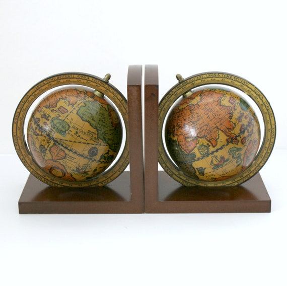 Vintage Old World Globe Bookends, 1970s Wood Bookends