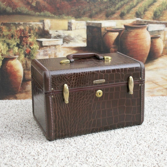 Vintage Samsonite Suitcase Luggage Travel Case, 1950s Brown Faux Crocodile Pattern