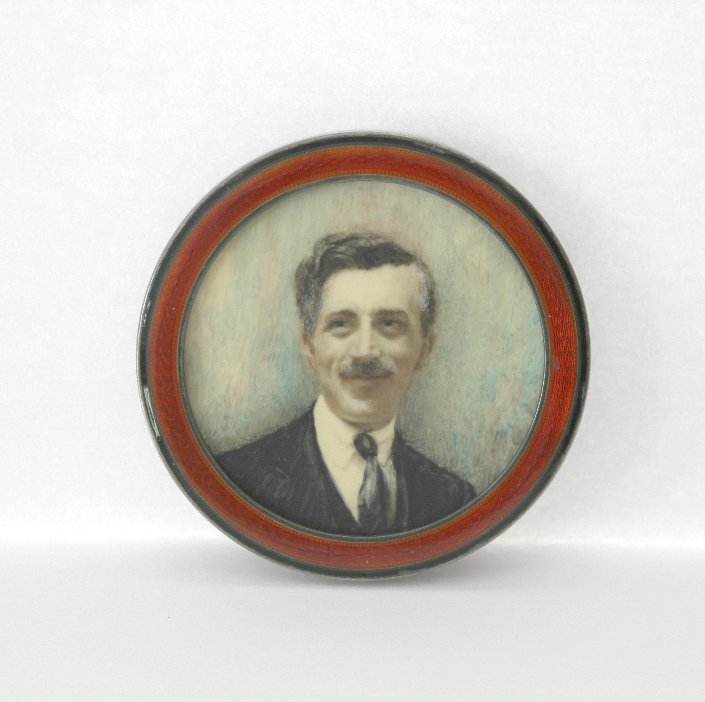 Antique Sterling Silver Enamel Round Mini Frame English Hallmark