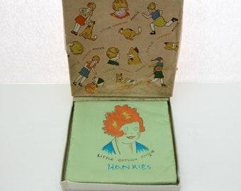 Vintage Little Orphan Annie Handkerchief Holder with Box, Vintage Kids Childrens Hankies Box