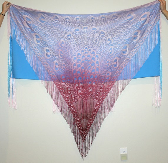 Vintage Lace Fringe Shawl, Peacock Pattern, Native American Ceremonial Dance Wrap