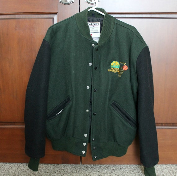 Vintage Seattle Supersonics Wool Letterman Style Jacket DeLong NBA Basketball Washington