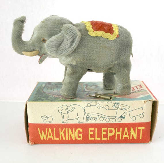 Vintage Walking Elephant 1950s Wind Up Toy Made in Japan with Box and Key