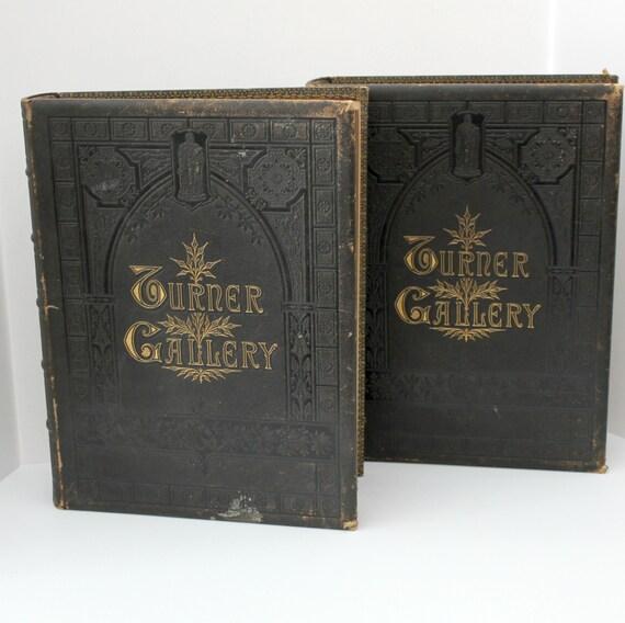 Antique Turner Gallery 2 Volume Book Set 120 Steel Engravings, Leather Bound, Gold Gilt Edges