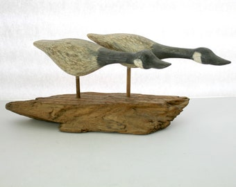 Canadian Geese Wood Carving, 2006 H. J. Griolite Signed, Nature Wood Art Decor