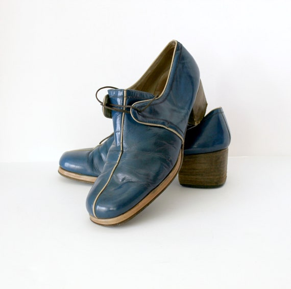 Vintage 1970s Mens Blue Platform Shoes Sz 9 W, Leather Shoes, Italian Disco Chunky High Heel