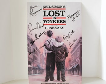 Neil Simon's Lost In Yonkers Broadway Poster Sign Card, Signed by Cast, Jamie Marsh, Lauren Klein, David Chandler autographed