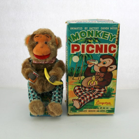 Vintage Monkey On A Picnic Toy, 1950s Battery Operated by Cragston in Box | Works!