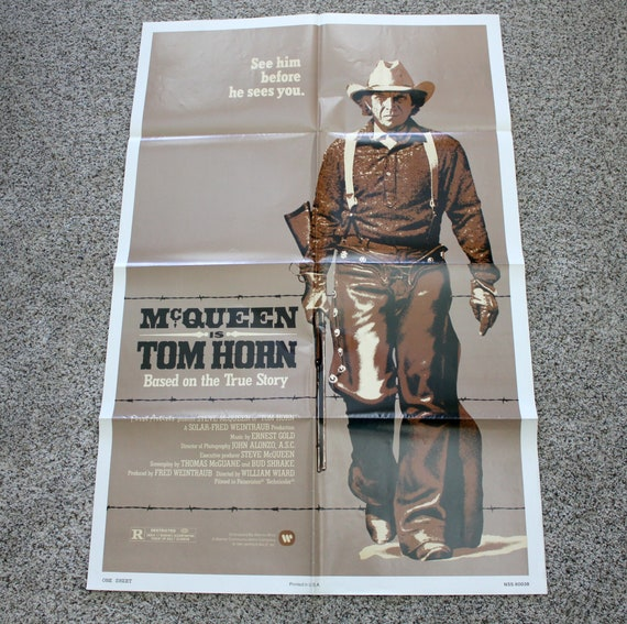 "Vintage 1980 Tom Horn Movie Poster, Original One Sheet 27"" x 41"" Action Western with Steve McQueen"