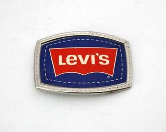 Vintage Levi's Belt Buckle, Red Silver Blue