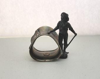 Antique Miner Silver Plated Napkin Ring Holder, Auditorium Denver Colorado, Quadruple Plate K & Co. Victorian Metal Tableware