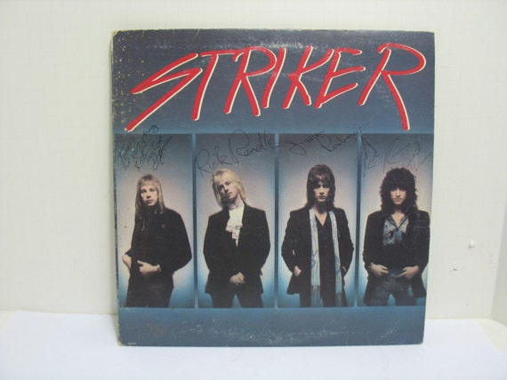 Striker Album Record LP, Signed Autographed by All Four, Vintage Heavy Metal Rock & Roll Vinyl