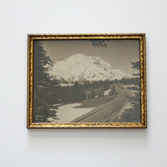 Vintage Mt Rainier Photo J. Boyd Ellis NW Scenic Photography, Mountain Scene, B/W Framed Photo WA State Landscape