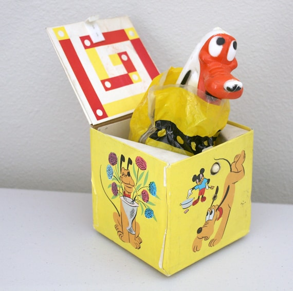 Vintage Pluto Jack In The Box, Walt Disney WDP #556 Cardboard Toy, Pop up Dog