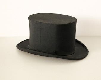 Vintage Black Top Hat, 1930s with Original Box, Size 7