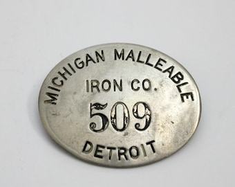 Vintage Michigan Malleable Iron Co Detroit Pin Worker Badge 1940s