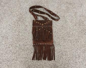 1970s Suede Leather Fringe Studded Purse Shoulder Bag, Hippie, Boho