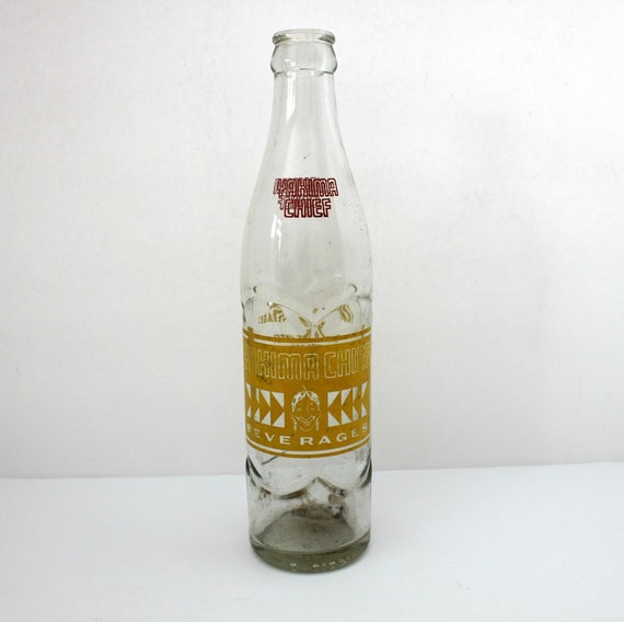 Vintage Yakima Chief Beverages Bottle, 1960s ACL Soda Pop Bottle