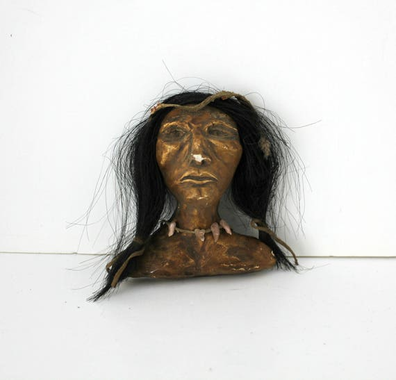Vintage Native American Bust, Folk Art Plaster Mixed Media Small Bust