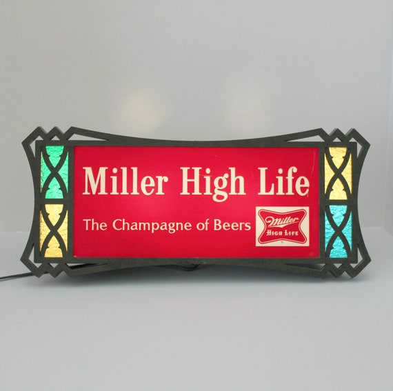 Vintage Miller High Life Beer Sign, Light Up Stained Glass Look, Advertising Champagne of Beers Lighted Sign