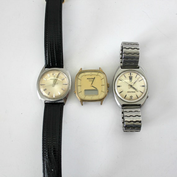 Vintage Lot 3 Bulova Accutron Watches, M6, N0, N9 1966, 1970s Wristwatch