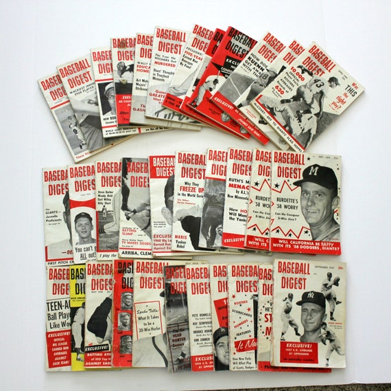 Lot 33 Baseball Digest 1957 - 1962, Musial, Bill Virdon, Willie Mays, Ford