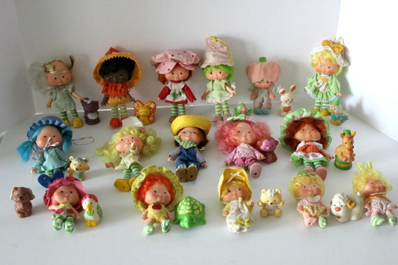 Vintage Lot Strawberry Shortcake Dolls with Pets, 1980s Party Pleaser, Friend