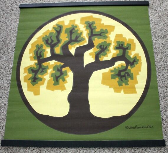 Lars Hawkes 1972 Silkscreen Wall Hanging Art Print, Mid Century Abstract Tree, Avocado Green, Gold, Yellow