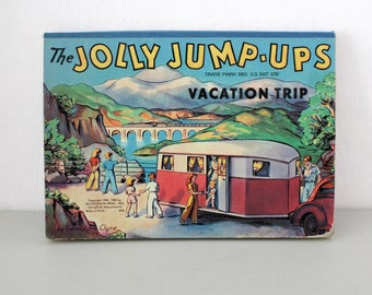 The Jolly Jump-Ups Vacation Trip Pop Up Board Book by Geraldyne Clyne 1948